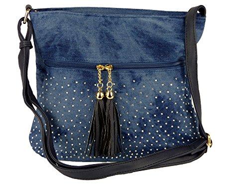 Süße Jeans Style Umhängetasche mit 2 Troddeln und kleinen Steinchen/Nieten - Glitzereffekt - Maße ohne Henkel 29x25x12 cm - Damen Mädchen Teenager Tasche - Used Look Style Dunkelblau