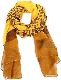 Calonice Amorino Damen Schal Gelb Leopard Print 100% Polyester (L) 185x95 cm (LxH) 3001