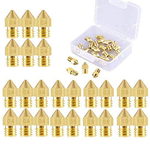24 Pezzi Ugello Stampante 3D Ugello Estrusore M6 (2 * 0.2mm+2 * 0.3mm+12 * 0.4mm+2 * 0.5mm+2 * 0.6mm+2 * 0.8mm+2 * 1.0mm) per MK8 Makerbot