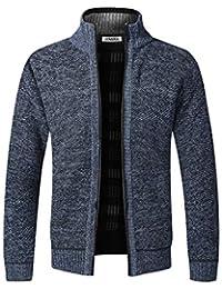 Cárdigan de Punto para Hombre, suéter Grueso con Cremallera Completa y Cuello Alto, cálido suéter con Forro Polar para Invierno