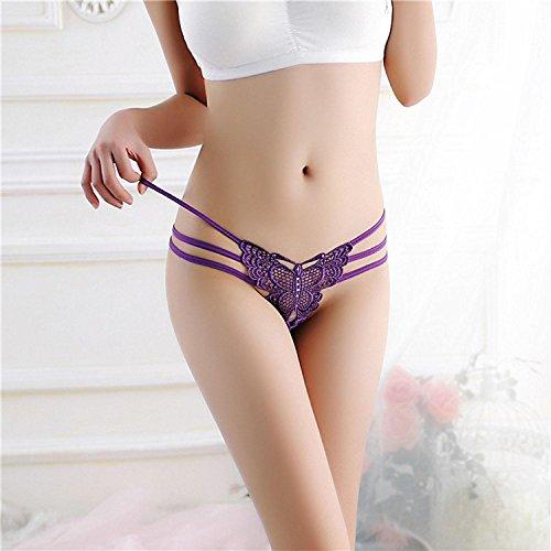 AIMADO Damen String mit Riemchen Schmetterling erotik Panties elastischer Slip Tanga Lila