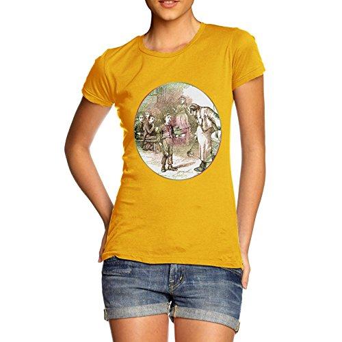 TWISTED ENVY Damen T-Shirt Oliver Twist Illustration Print X-Large Gelb