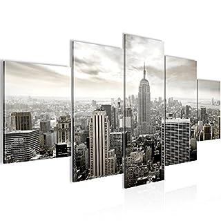 Runa Art Bilder New York City Wandbild 200 x 100 cm Vlies - Leinwand Bild XXL Format Wandbilder Wohnzimmer Wohnung Deko Kunstdrucke Grau 5 Teilig - Made IN Germany - Fertig zum Aufhängen 603451c