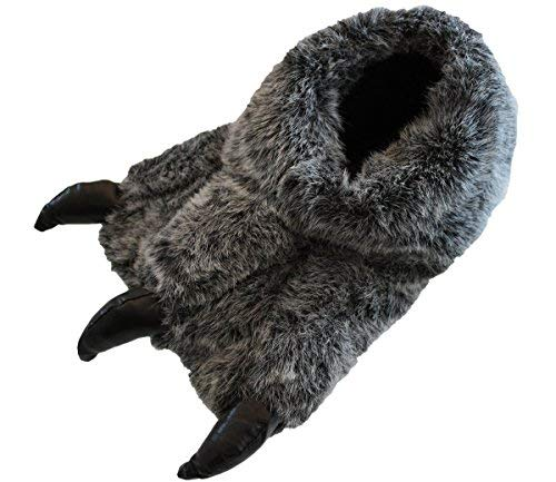 Shoeshoebedo Schlappen in Yeti-Fuß-Form für Jungen und Herren, Monsterklauen, warm, flauschig, Grau - grau - Etikette Größe: 9-10 UK