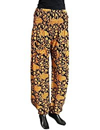 DollsofIndia Yellow Floral Print On Black Cotton Harem Pants - Length - 43 Inches - Elastic Waist - Yellow