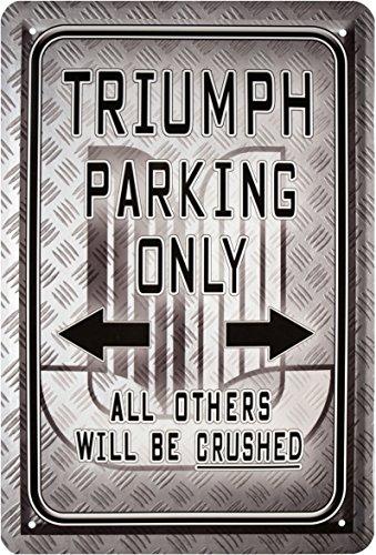 Triumph Parking Only Moto Bike Cartel de chapa 20x 30cm retro Chapa...