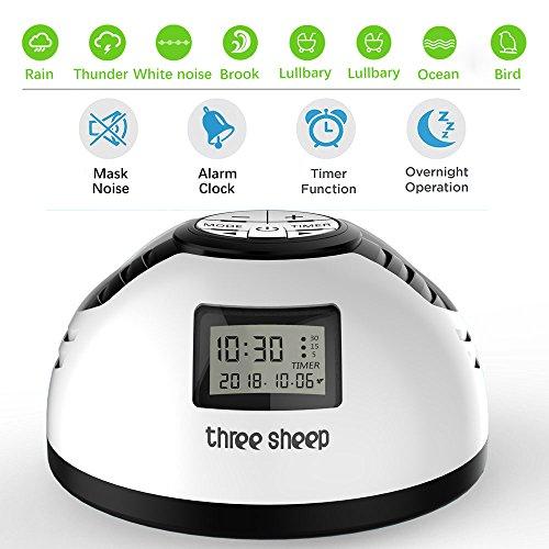 three sheep White Noise Machine, Baby-Schlaf-Sound-Maschine mit 8 Soothing Sounds Auto-Off-Timer Wecker für Kinder tragbare Maschine für Schlaf, Spa-Entspannung, Büro Nickerchen und Reisen (weiß) (Maschine Aid Sleep)
