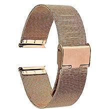 TRUMiRR 22mm Milanese acero inoxidable reloj Correa sólida de alambre de malla Correa para Samsung R380 Gear 2 Neo R381 R382 vivo, Moto 2 360 46mm, Guijarro Tiempo / Acero, Asus ZenWatch 1 2 Los hombres, LG G Reloj urbano W150