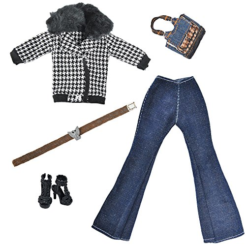 Mode Winter Barbies Puppe Outfit Kleider Mantel + Strickpfannen + Handtasche + Schuhe für 29CM Puppen