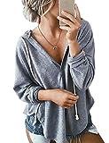 Nlife Frauen Kalt Schulter Seite Split Langarm Bluse Tunika Shirts (M, Grey-2)