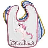 Rosa Einhorn Personalisierte Baby Lätzchen (blau, pink, gelb oder weiß)