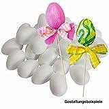 Styroporeier-Set 25 Stück ✓ weiße Eier aus Styropor in Groß-Packung sind unbemalt ✓ weisse Ostereier 60mm / 6cm für Ostern ✓ ideal zum bemalen mit Acrylfarbe ✓ schöne Osterdeko mit Kindern basteln ✓ ovale Styropor-Eier eignen sich super zum Verzieren / Bekleben / Filzen | trendmarkt24 - 25850