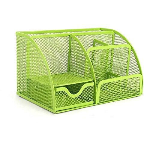 vanra Office Versorgung Caddy Metall Mesh Desktop Supplies Organizer Schule Versorgung Halterung Stuff Lagerung Organizer 6Fächer mit Schublade grün (Mesh-schublade-storage Box)