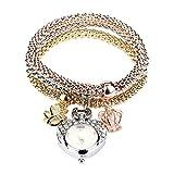 HUIHUI Uhren Damen, Geflochten Armbanduhren Günstige Uhren Wasserdicht Casual Analoge Quarz Uhr Luxus Armband Coole Uhren Lederarmband Mädchen Frau Uhr (B)
