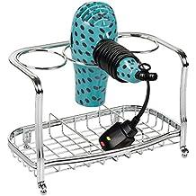 mDesign Soporte para secador de pelo de pie y sin taladro – Soporte para plancha de pelo, secador, cepillos y otros productos de peluquería – Cesta de rejilla de metal para el baño – plateado