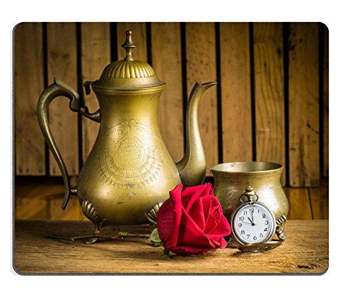 luxlady Gaming Mousepad Bild-ID: 25518359noch leben mit Antik Messing Ware Tee Pot Schale rot Rose Bud und Taschenuhr Antike Tee