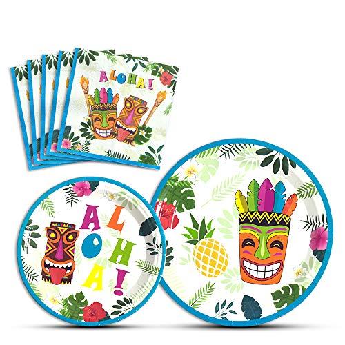 WERNNSAI Hawaiian Tropische Party Supplies - Luau Aloha Einweggeschirr Teller und Servietten zum Geburtstag Platten Abendessen Dessert für 16 Gäste (Party Supplies Tropische)