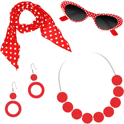 German Trendseller® - Rockabilly - Accessoire Set - Deluxe ┃ 1950er - Set ┃ Polka Brille + Schal + Halskette + Ohrringe┃ 5 teiliges Kostüm Set ┃1 Set (Rock And Roll Motto Kostüm)