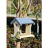 Y&Q Mangiatoia per Uccelli Selvatici sospesi. Stazione di Alimentazione per Semi di Legno di Uccelli Selvatici-B Padiglione di Alimentazione per Alberi d'Amore (Senza Vetro)