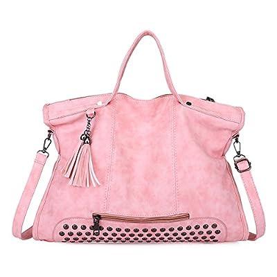 Vintage Sac en cuir nubuck Rivet Tassel Femmes Messenger Bag Tote sacs femmes Sac à bandoulière grande capacité féminine