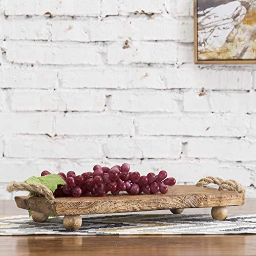 MyGift Rustikales Serviertablett aus Maulbeerholz mit Seilgriffen (Kaffee-topf-tray)