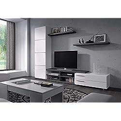 Mueble de Salon color gris ceniza y blanco,MOD CHARLES