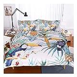 CSYPYLE Bettwäsche-Sets Pflanzenblätter Vögel Muster Schlafzimmer Bettbezug Bettlaken Kissenbezüge Set, 140Cmx210Cm