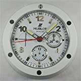 Hublot Silencioso Luminoso Sweep Reloj De Pared, Blanco + Blanco