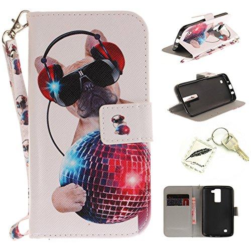 Preisvergleich Produktbild Silikonsoftshell PU Hülle für LG K8 (5 Zoll) Tasche Schutz Hülle Case Cover Etui Strass Schutz schutzhülle Bumper Schale Silicone case+Exquisite key chain X1) #KE (12)