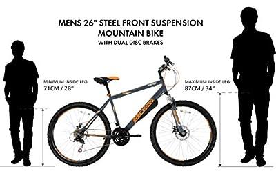 Boss Men's Vortex Mountain Bike - (Grey/Orange, 12+ Years, 18 Inch, 26 Inch)