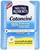 Neutro Roberts - Cotoncini, 100% Morbido Cotone, Biodegradabili, Con Astina In Cartoncino, Camomilla, Ideale Anche Per Bambini - 100 Pezzi