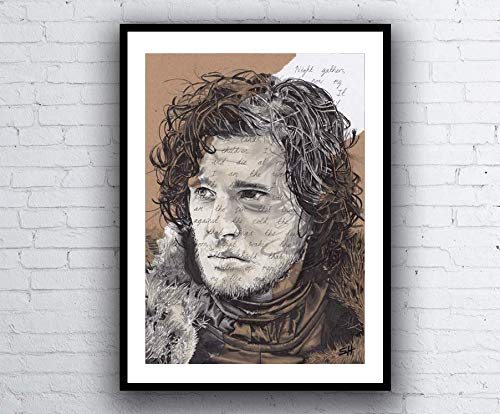 Jon Snow Portrait Drawing with Night's Watch Vows - Game of Thrones Giclée art print A5 A4 A3 size