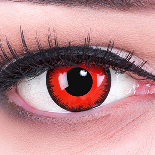 Werwolf Kontakte Kostüm - Farbige rote schwarze Red Lunatic Crazy Fun red Motivlinsen. Kontaktlinsen crazy cosplay contact lenses 1 Paar. Perfekt zu Fasching, Karneval und Halloween. Mit gratis Linsenbehälter