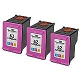 Speedyinks Wiederaufbereitete Tintenpatronen, Ersatz für HP 62XL C2P07AN (Farbe, 3er-Pack)