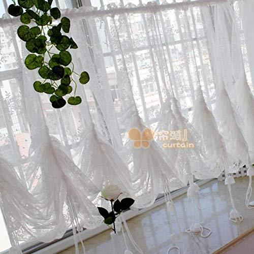 tze Bestickt Schiere Ballon Vorhänge,einstellbare Tie-up Vorhang Schattierungen,1 Schiebegardinen Blumen Tüll Für Windows-weiß 200x150cm(79x59inch) ()