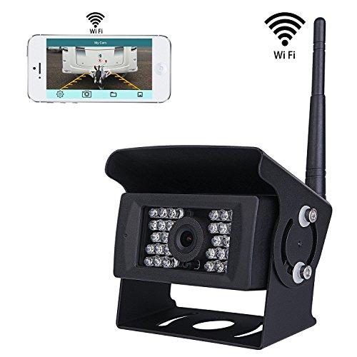 Wifi Wireless Rückfahrkamera CCTV-System, 36V bis 12V IP69 Wasserdicht Super Night Vision 28 IRs leuchtet Rückfahrkamera mit Backup-Linie Monitor Kit kompatibel mit iPhone / iPad und Android
