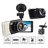 Doppio Dash Cam Full HD 1080P 170 ° macchina fotografica del precipitare 4.0 pollici Screen Dash Cam anteriore e posteriore, cruscotto della macchina fotografica con G-sensor, registrazione del ciclo,