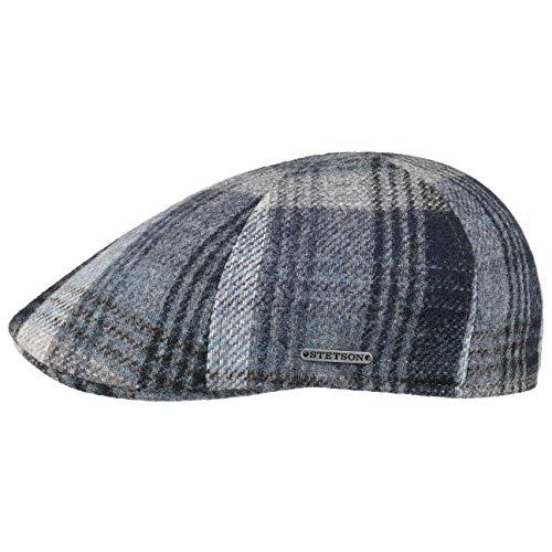 Stetson Casquette Texas Wool Check Homme - Made in The EU pour l'hiver Gavroche Laine avec Visiere, Doublure Automne-Hiver - XL (60-61 cm) Bleu
