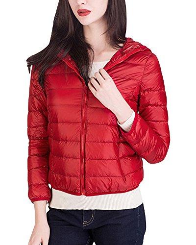Damen Daunenjacke Steppjacke Übergangsjacke Zusammenklappbar Leicht Winter Warm Jacke Mit Kapuze Rot S