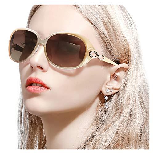 FIMILU Sonnenbrillen Damen Übergroß, Retro Designer-polarisiert Brille Frauen, 100% UVA/UVB Schutzle Frauen (Champagner)