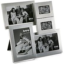 Versa 18160242 Portafotos 5 Ventanas Plateado, 29,5x3,3x30,3cm, Aluminio