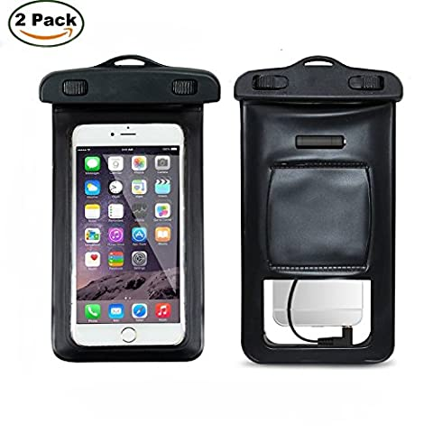 TPU Floating Waterproof Case Saytay [2*Pack] Waterproof Bag Dry Bag With Headphone Jack, Adjustable Strap and Armband, keeping cell phone, Money, Credit cards or car keys from Water, Snow, Sand,