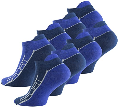 Lot de 8 paires de socquettes - coton et élasthanne - talon ajusté et inscription Sport - pointe remaillée main - bicolo