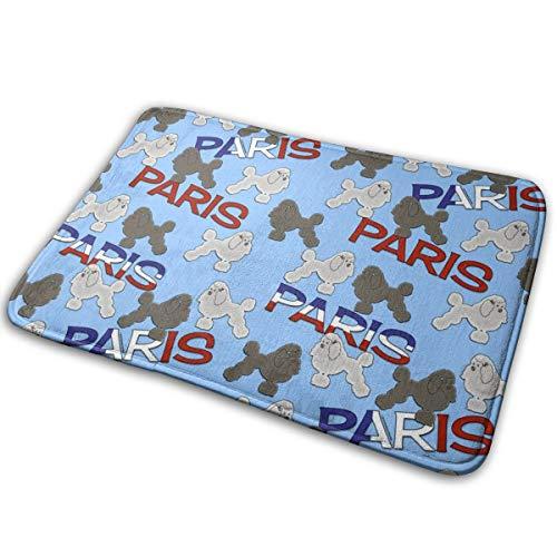 Outdoor-Fußmatten? French Poodles und Paris am Himmel Blue_596 Badematte Rutschfeste, saugfähige, super gemütliche Badezimmer-Wolldecke 15,7