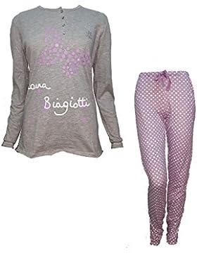 pigiama donna lungo serafino cotone LAURA BIAGIOTTI art. 96045 nuova collezione (S, glicine)