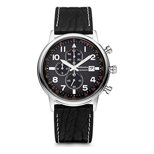 RODANIA Wall Street Aero Homme Bracelet Cuir Noir Quartz Montre 26153.27
