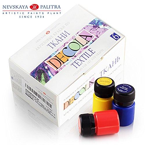 Hochwertiges Textilfarbe Set | 6 x 20ml | Stoffmalfarben waschfest | von Nevskaya Palitra (Grün T-shirt Farbe)
