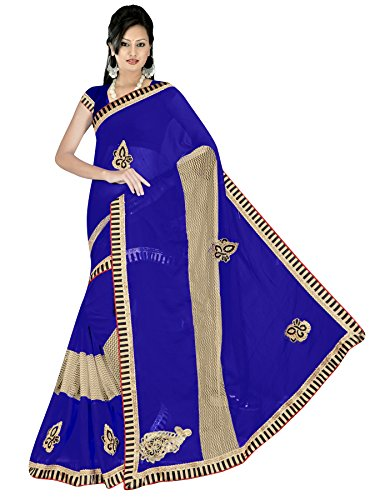 Fantasy Fab Chiffon Emboidery Saree with Blouse(Royal Blue)
