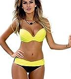 Bikini Push Up Sexy Gepolstert Bandeau Bademode Frauen Bügel Triangel Bikini Set Sommer Strand Gelb