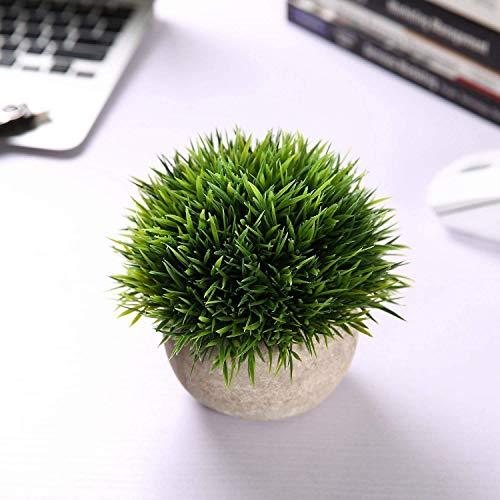 T4U Künstliche Grün Gras Bonsai Kunstpflanze mit grauen Topf, für Hochzeit/Büro/Zuhause Dekoration – 3er Set - 5